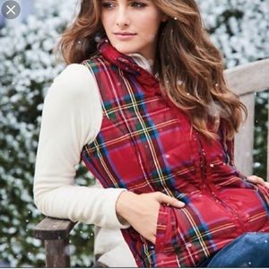 Lands End Down Puffer Vest Red Plaid